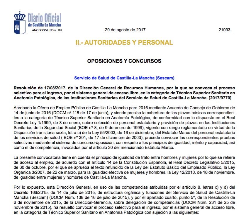 Convocatoria oposiciones Sescam Tecnico Superior Anatomia Patologica