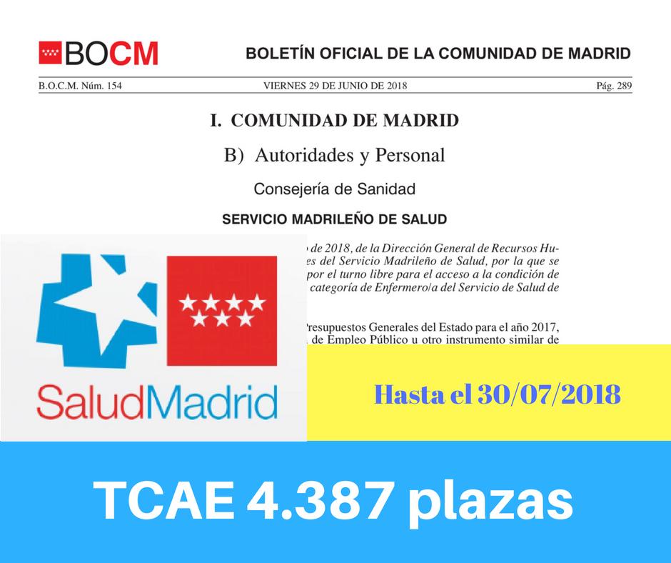 Convocatoria oposiciones TCAE Sermas Madrid