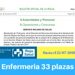 Convocatoria oposiciones enfermeria Servicio Riojano de Salud