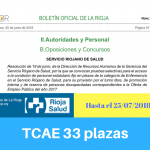 Convocatoria oposiciones TCAE Servicio Riojano de Salud