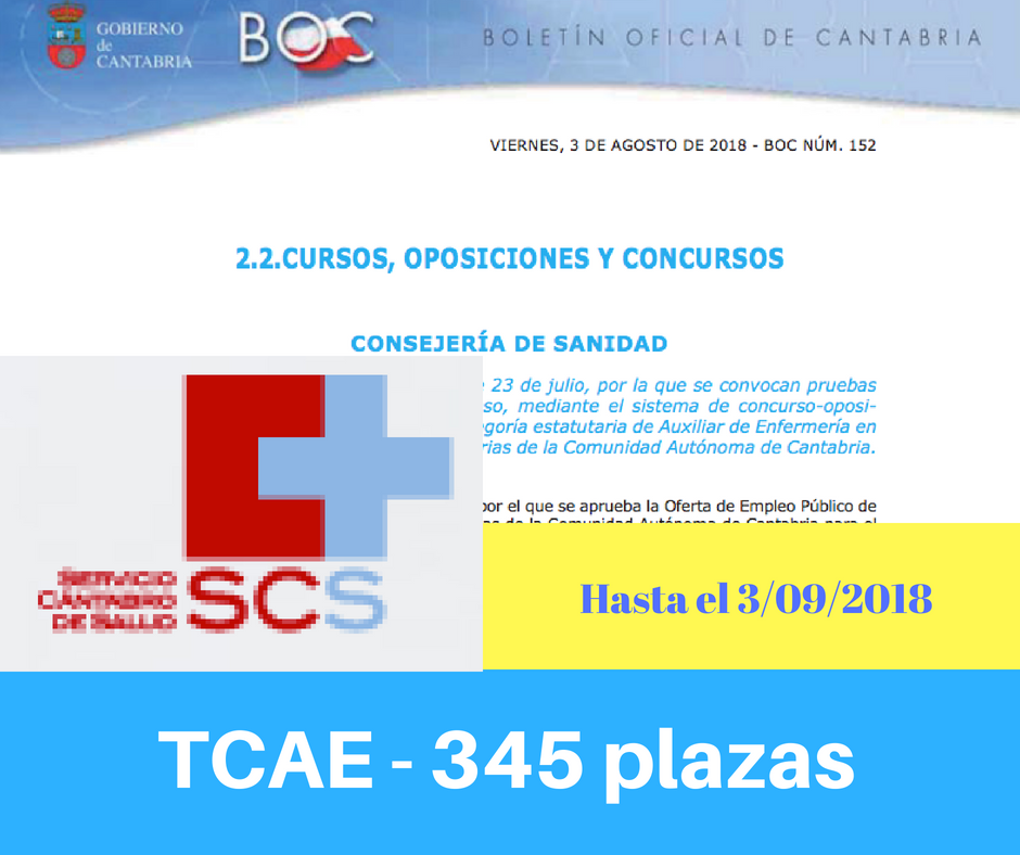 Convocatoria de Oposiciones TCAE de Cantabria