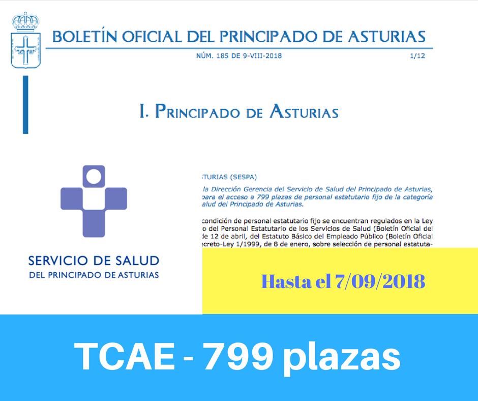 Convocatoria de oposiciones TCAE Principado de Asturias