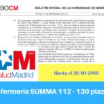 Convocatoria del Servicio Madrileño de Salud de Oposiciones de Enfermería del SUMMA 112