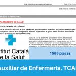 Convocatoria del Instituto Catalán de Salud de Oposiciones de Auxiliar de Enfermería