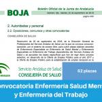 Convocatoria del Servicio Andaluz de Salud de Oposiciones de Enfermería en las especialidades de Salud Mental y Enfermería del Trabajo