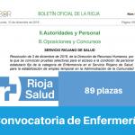 Convocatoria de La Rioja salud para Enfermería