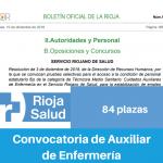 Convocatoria de La Rioja salud para Auxiliar de Enfermería