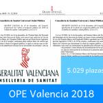 OPE de la Conselleria de Sanidad Universal y Salud Pública de Valencia para 2018