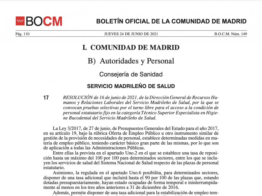 Convocatoria de oposiciones de Higienistas para Madrid 2021