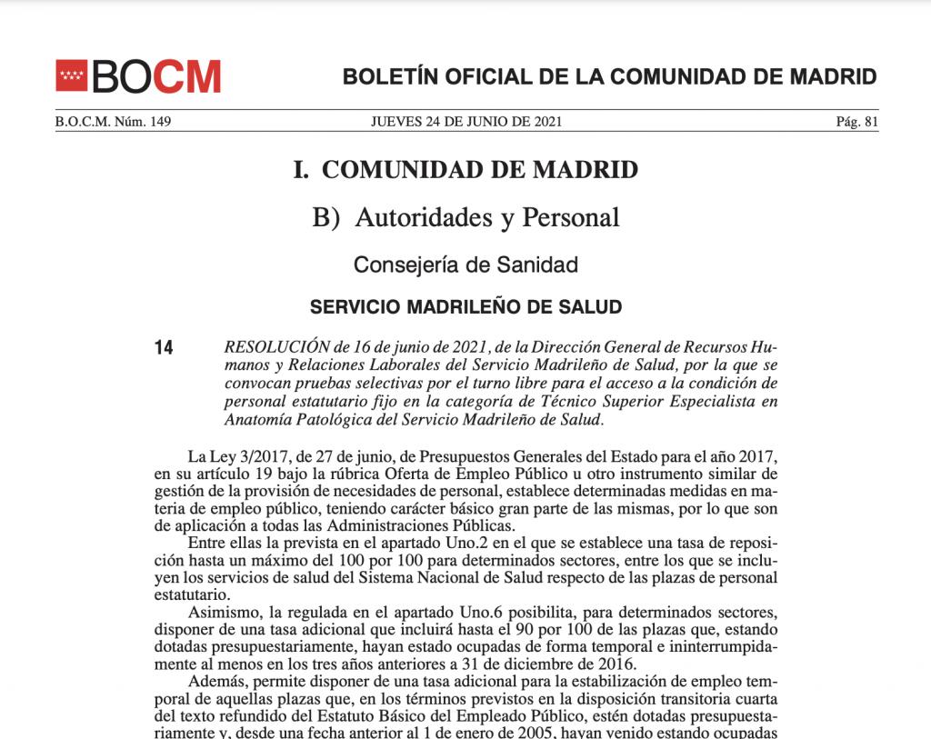Convocatoria de concurso oposición de Tecnico Superior en Anatomía Patológica del Servicio de Salud de Madrid 2021