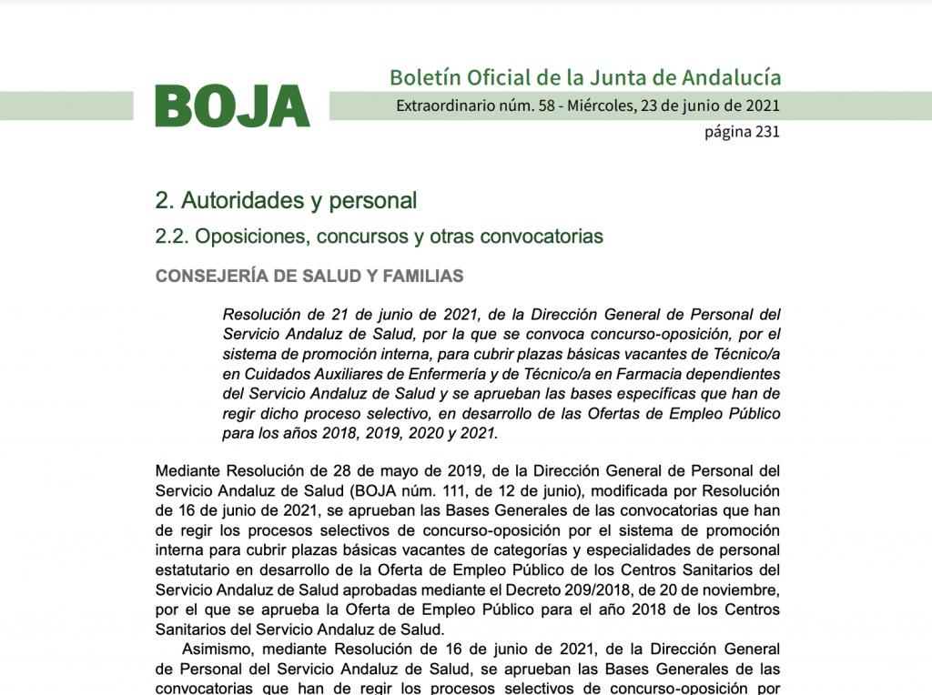 Convocatoria concurso - oposición TCAE para el Servicio Andaluz de Salud