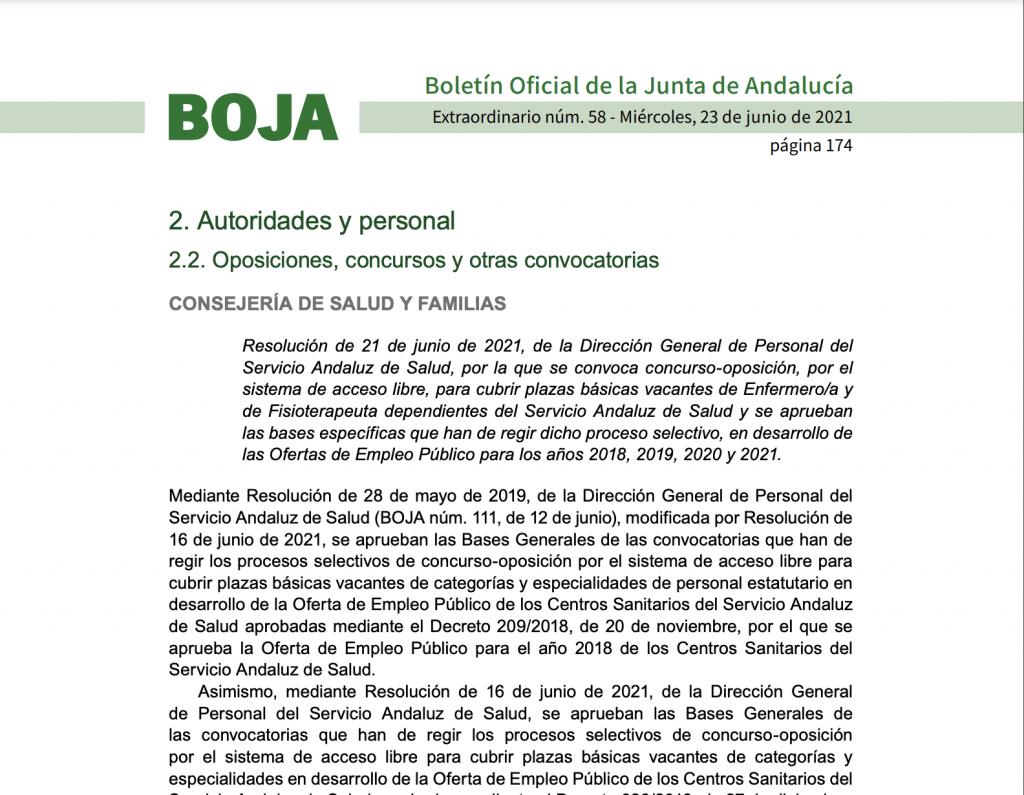 Convocatoria concurso - oposición enfermería para el Servicio Andaluz de Salud