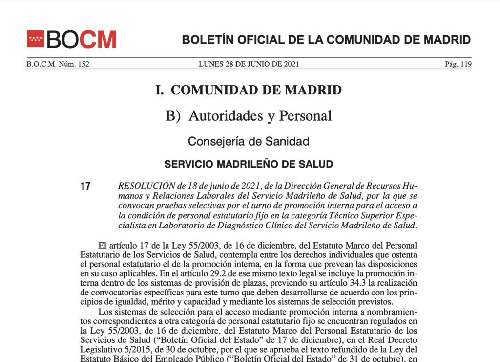 Convocatoria de concurso oposición de Técnico Superior Especialista de Laboratorio del SERMAS Madrid