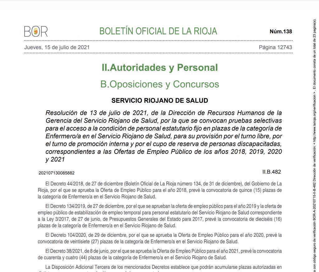 Convocatoria de concurso oposición de enfermeria del SERIS rioja salud 2021