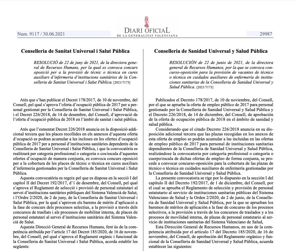 Convocatoria concurso - oposición TCAE para el Servicio Valenciano de Salud