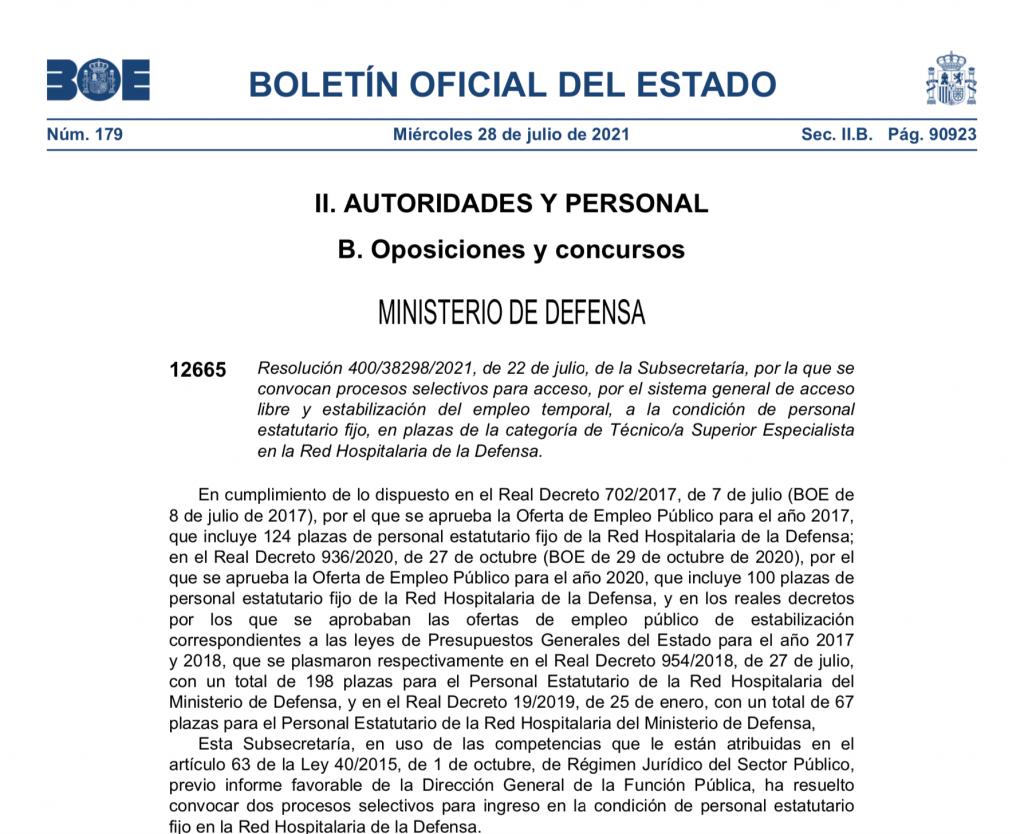 Convocatoria de concurso oposición para acceso a la categoría de Técnico Superior de Defensa